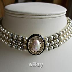 3e34f317bdb31 Vintage Signed Christian Dior Pearl/clear Stone Choker/necklace ...